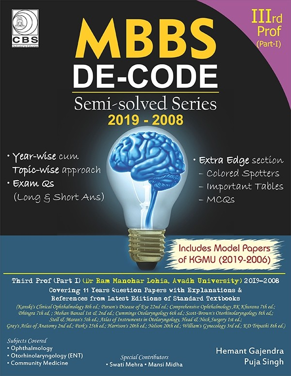 MBBS DE-Code-3rd Prof (Dr. RML, Avadh University) Semi Solved Series 2019-2000