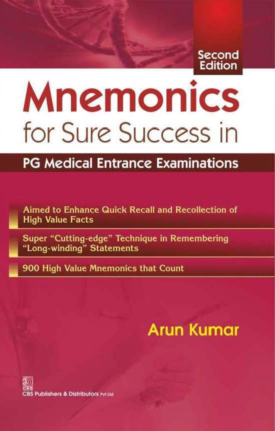 Mnemonics For Sure Success In Pg Medical Entrance  Examinations,2E (Pb 2016)